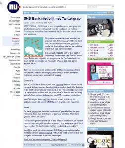 SNS Bank niet blij met Twittergrap  nu
